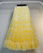 Women Yellow Tulle Maxi Skirt High Waist Floral Tiered Tulle Skirt Plus Size image 2