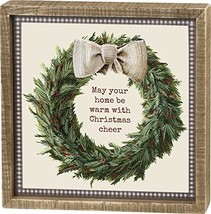 Primitives by Kathy Inset Box Sign, Christmas Cheer - $14.10