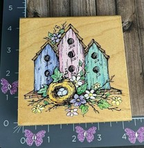 Stampendous Three BirdHouse Nest Rubber Stamp Tree Flowers Nature 1998 #BS1-25 - $5.94