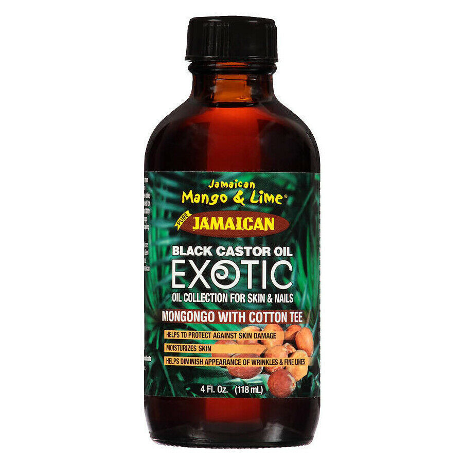 Primary image for Jamaican Mango & Lime Black Castor Oil Exotic Mongongo with Cotton Tee 4 fl.oz