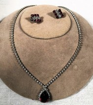 "VINTAGE 15 1/2"" RHINESTONE NECKLACE W/ FAUX TEARDROP RUBY & MATCHING EAR... - $29.69"