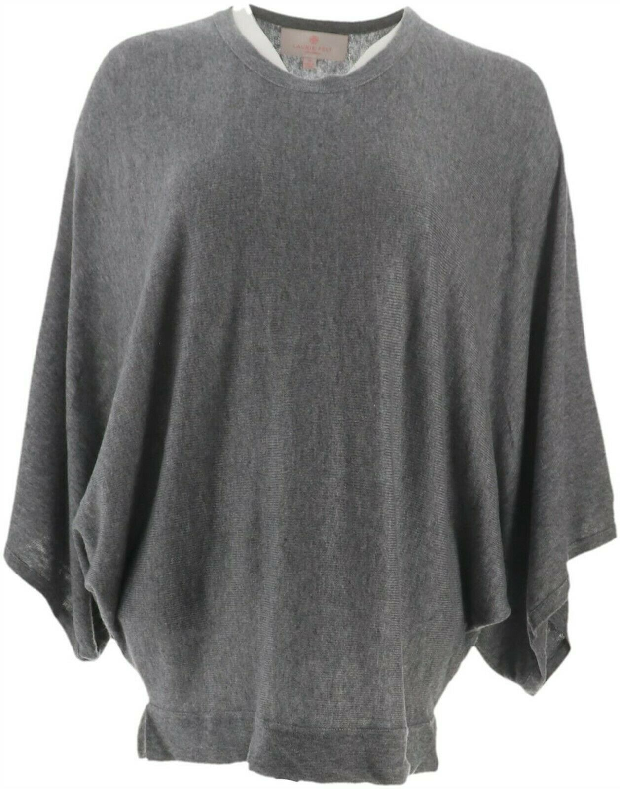 Primary image for Laurie Felt Cashmere Blend Knit Scoop-Neck Poncho DeepHeatherGrey 2X NEW A301698