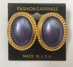 Vintage Purple Cabochon Earrings Brushed Satin Gold Tone Oval Shaped NOS - $7.87