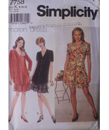 Simplicity 7758 Pullover Dress, Flared Skirt, Short, Long Sleeves, Size 8 10 12 - $10.00