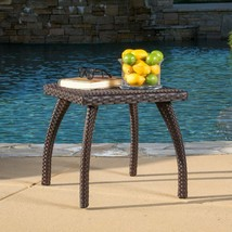 Patio Side End Accent Table Square Faux Wicker All Weather Brown Garden ... - $84.63