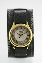 Fossil Watch Mens Stainless Gold Black Wide Leather Water Resistant Quartz - $35.07