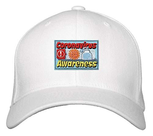 Coronavirus Awareness Hat - Adjustable White Cap