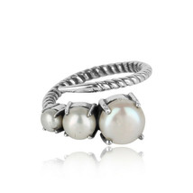 Pearl Gemstone Handmade Designer Twisted Ring 925 Silver Oxidized Jewelry - $21.00