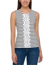 Tommy Hilfiger Women's Striped Floral-Applique Tank Top Ivory Black XL 4... - $27.76