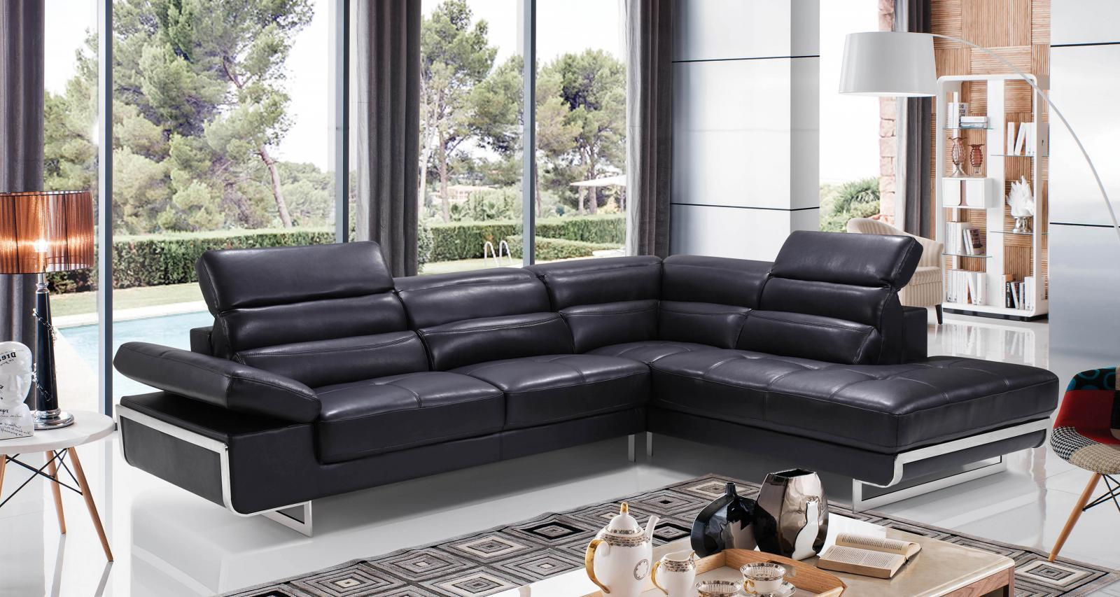 ESF 2347 Chic Black Leather Sectional Sofa Right Hand Facing Contemporary Modern