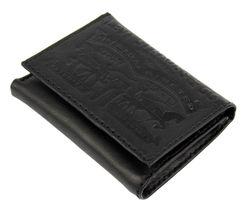 Levi's Men's Coated Leather Credit Card Trifold Wallet Embossed Logo Black image 3