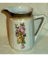Roses & Daisies Pitcher Zwickau Porcelain Saxony Germany Red ZPF Swan Ma... - $9.49