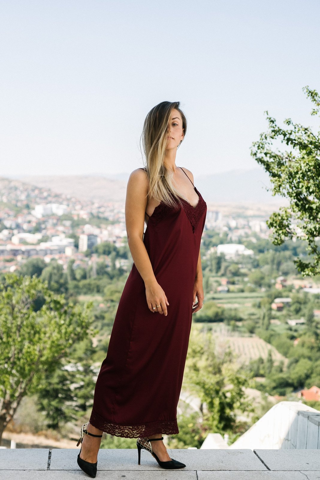 Burgundy Slip On Bareback Dress image 3