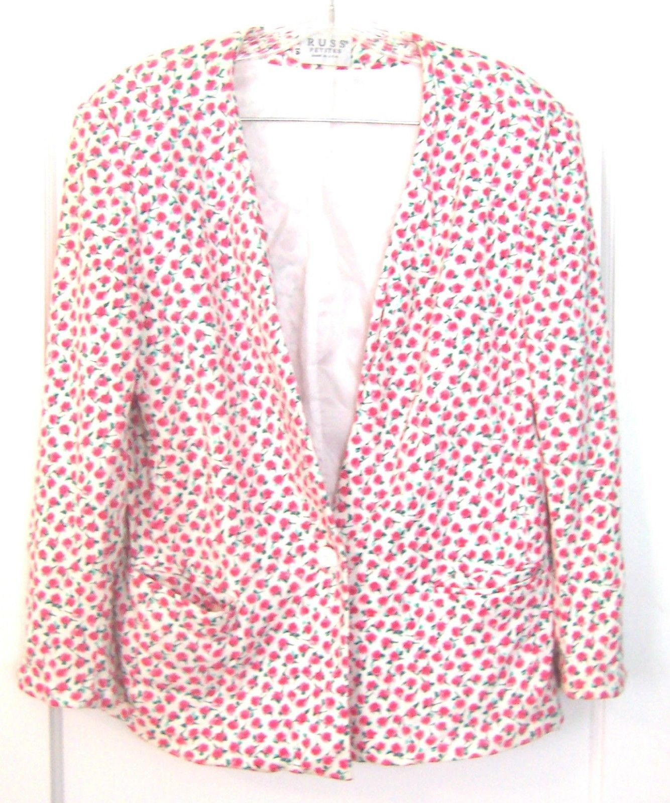 White with Pink Roses Floral Lined Dress Blazer Jacket by Russ Petites Sz 14  - $37.99