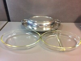Wallace Silverplate Scalloped Serving Tray with 2 USA Glassware Inserts - $51.04
