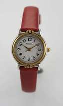 Fossil Watch Womens White Stainless Silver Gold Leather Maroon Water Res... - $35.13