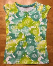 Cherokee Girl's White & Green Floral Short Sleeve Shirt - Size Small - $9.50