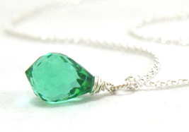 Seafoam Green Tourmaline Gemstone Drop Pendant in Solid Sterling Silver ... - $51.92