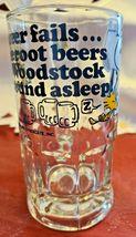 "Vintage SNOOPY Woodstock Peanuts ""Too Much Root Beer"" GLASS DRINKING MUG 1965 image 3"