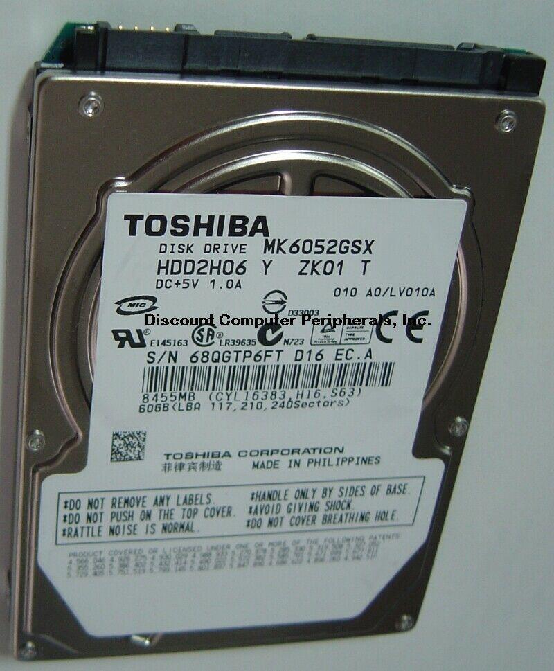 "New 60GB Toshiba MK6052GSX 2.5"" 9.5mm SATA Hard Drive HDD2H06 Free USA Shipping"
