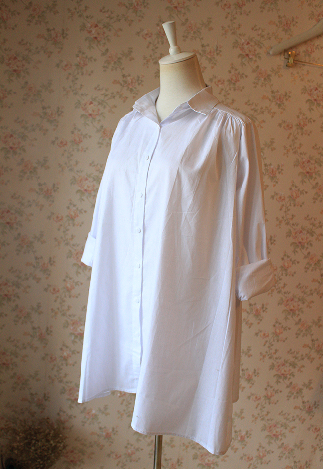 Women White Shirt Blouse Plus size Cotton Long Sleeve