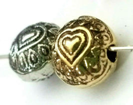 HEART FLATTENED ROUND FINE PEWTER BEAD Approx. 10MM X 10MM x 7MM, 1.5MM HOLE image 3