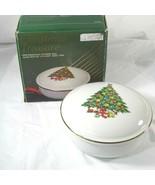 Vtg Jamestown China Christmas Treasure Porcelain Covered Candy Dish Trin... - $9.89