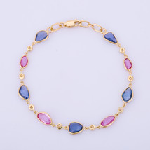 18K Yellow Gold Bracelet With Pink & Blue Sapphire Gemstone - Diamond Et... - $1,232.50