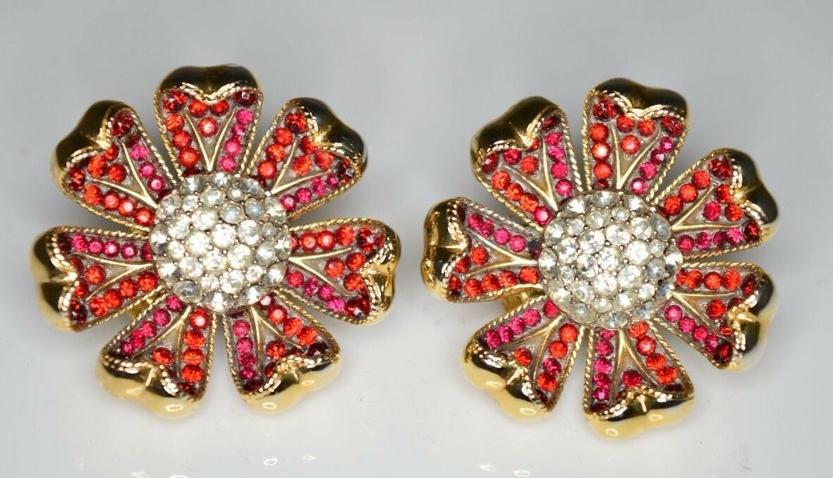 VTG Gold Tone RARE CROWN TRIFARI Red Clear Rhinestone Flower Clip Earrings