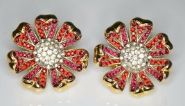 VTG Gold Tone RARE CROWN TRIFARI Red Clear Rhinestone Flower Clip Earrings - $148.50