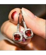 4Ct Cushion Cut Red Ruby Hook Halo Drop & Dangle Earrings 14K White Gold... - $127.49