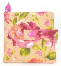 PINK ROSES ON PEACH Fabric Mini Wallet With Pen MNWT - $4.00