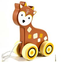 Applesauce Deer Baby Wooden Pull Toy for Toddlers Children Ages 12+ Month image 8