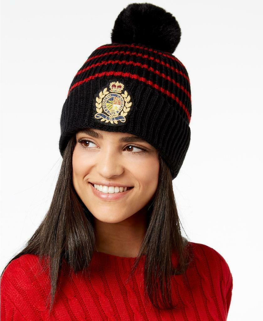 $48.00 Lauren Ralph Lauren Logo-Patch Ribbed Knit Hat, Black/Red