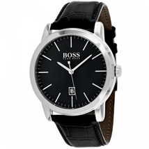 Hugo Boss Classic 1513397 Black / Black Leather Analog Quartz Men's Watch 134601 - $199.99
