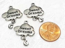 SWEET DREAMS CLOUD WITH DANGLE MOON & STAR FINE PEWTER PENDANT CHARM - 19x21x2mm image 2