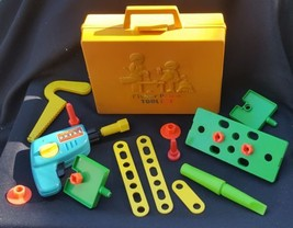 Vintage 1977 Fisher Price Plastic Toy Toolbox With Tools - $10.00
