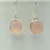 Handmade Sterling Silver Pink Onyx Square Earring, Faceted Rose Quartz - $26.00