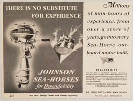 1944 Print Ad Johnson Sea-Horse Outboard Motors Man Hours Waukegan,IL - $11.37