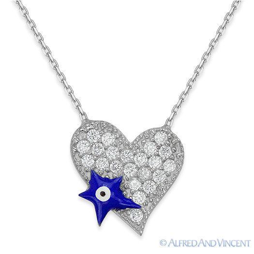 Evil Eye Heart Pendant Turkish Nazar Greek Jewish Hamsa Sterling Silver Necklace image 3