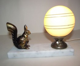 Vintage French Art Deco Squirrel Lamp Beige Marble Base Cream Glass Shad... - $77.12