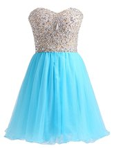 Short Blue Beaded Formal Prom Dresses A Line Sweetheart Tulle Homecoming... - $118.00