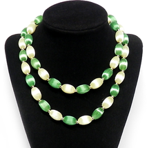 "Vintage Silk Bead Necklace Mid-Century Green & Yellow Wrapable Strand 30"" - $5.00"