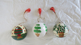 3 Foreside Company Wooden Ball Christmas Trees Ornaments - $17.75