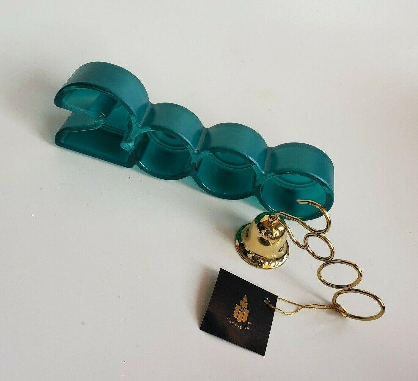 Millennial Year 2000 Teal Glass Tealight Candle Holder Brass Snuffer Partylite