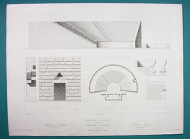 ARCHITECTURE PRINT 1850 - Turkey Greek Theater at Iasos - $17.96