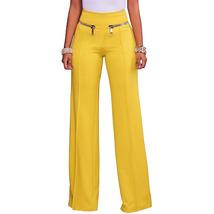 3Colors Street Chic High Shoot Micro-elastic Zipper Wide Legs Pants W660... - $15.99+