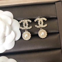 SALE* AUTH NEW CHANEL 2018 Gold CC Crystal Double PEARL Dangle Drop Earrings