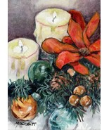 ACEO Original Painting Christmas Candles holiday Xmas ornament flame fes... - $16.00