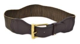 Ralph Lauren Roller Gold Buckle Wide Stretch Waist Belt, Dark Brown Natural - $23.00